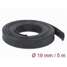 Delock Braided Sleeve stretchable 5 m x 19 mm black