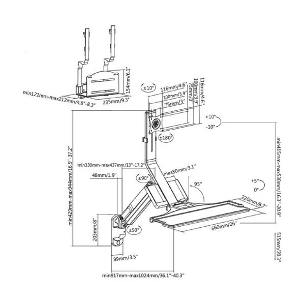 "sc... 17-32/"" MC-838 VESA Bildschirm-//TV-Halterung mit Regal"