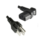 Power cord with IEC socket, 90° angled, US plug, 1.8 m