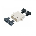 Fiber optic duplex coupler SC to SC, plastic housing: gray