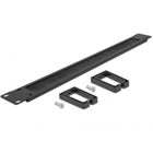 "Delock 19"" Cable Management Brush Strip with Cable Support Plate 1U black"